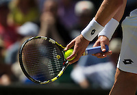 England, London, Juli 04, 2015, Tennis, Wimbledon, Hands holding racket and ball before service<br /> Photo: Tennisimages/Henk Koster