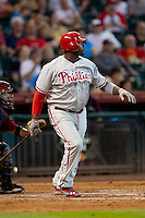 Philadelphia Phillies first baseman Ryan Howard #6 drives in two runs during the fifth inning of Major League baseball game against the Houston Astros on September 16th, 2012 at Minute Maid Park in Houston, Texas. Howard was tagged out attempting to stretch a double into a triple and the Astros defeated the Phillies 7-6. (Andrew Woolley/Four Seam Images).
