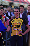 Lotto NL-Jumbo at the Team Presentation in Alghero, Sardinia for the 100th edition of the Giro d'Italia 2017, Sardinia, Italy. 4th May 2017.<br /> Picture: Eoin Clarke | Cyclefile<br /> <br /> <br /> All photos usage must carry mandatory copyright credit (&copy; Cyclefile | Eoin Clarke)