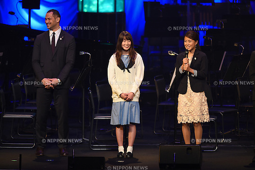 (L-R) Koji Murofushi, Miyabi Onizuka, Ayana Onozuka, <br /> JUNE 12, 2015 - : JOC Olympics concert 2015 at Tokyo International Forum in Tokyo, Japan. (Photo by AFLO SPORT)