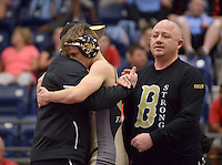 NWA Democrat-Gazette/BEN GOFF @NWABENGOFF<br /> Bentonville head coach James Rappe (left) and assistant Steve Grigsby congratulate Logan Schmidt after he defeated Bryce Arroyos of Fayetteville in the 132 weight class final Saturday, Feb. 11, 2017, during the Big West Conference wrestling tournament at Wolverine Arena in Centerton.