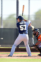 Milwaukee Brewers catcher Matt Martin (57) during an Instructional League game against the San Francisco Giants on October 10, 2014 at Maryvale Baseball Park Training Complex in Phoenix, Arizona.  (Mike Janes/Four Seam Images)