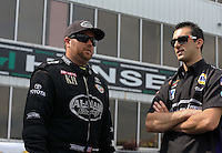 May 11, 2013; Commerce, GA, USA: NHRA top fuel dragster driver Shawn Langdon (left) with pro stock driver Vincent Nobile during the Southern Nationals at Atlanta Dragway. Mandatory Credit: Mark J. Rebilas-