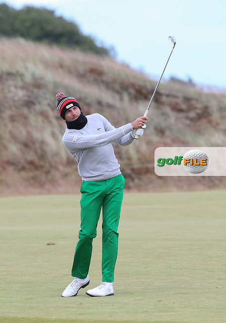 Benjamin Hebert (FRA) in face scarf during Round One of the 2016 Aberdeen Asset Management Scottish Open, played at Castle Stuart Golf Club, Inverness, Scotland. 07/07/2016. Picture: David Lloyd | Golffile.<br /> <br /> All photos usage must carry mandatory copyright credit (&copy; Golffile | David Lloyd)