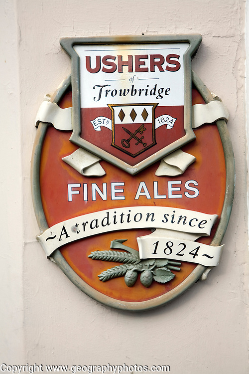 Ushers brewery pub sign. The Trowbridge brewery operated from 1824 until 2000 when it closed down.