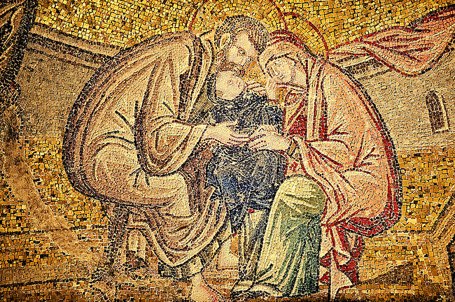 The 11th century Roman Byzantine Church of the Holy Saviour in Chora and its mosaic of Anne and Joachim caressing the little child Mary.  Endowed between 1315-1321  by the powerful Byzantine statesman and humanist Theodore Metochites. Istanbul