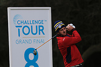 Damien Perrier (FRA) on the 8th tee during Round 2 of the Challenge Tour Grand Final 2019 at Club de Golf Alcanada, Port d'Alcúdia, Mallorca, Spain on Friday 8th November 2019.<br /> Picture:  Thos Caffrey / Golffile<br /> <br /> All photo usage must carry mandatory copyright credit (© Golffile | Thos Caffrey)