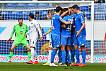 14.04.2019, PreZero Dual Arena, Sinsheim, GER, 1. FBL, TSG 1899 Hoffenheim vs. Hertha BSC Berlin, <br /> <br /> DFL REGULATIONS PROHIBIT ANY USE OF PHOTOGRAPHS AS IMAGE SEQUENCES AND/OR QUASI-VIDEO.<br /> <br /> im Bild: Nadiem Amiri (TSG Hoffenheim #18) jubelt ueber sein Tor zum 1:0 mit Kerem Demirbay (TSG Hoffenheim #10), Florian Grillitsch (TSG 1899 Hoffenheim #11), Adam Szalai (TSG Hoffenheim #28)<br /> <br /> Foto © nordphoto / Fabisch
