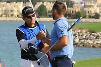 Adri Arnaus (ESP) and caddie Ignacio Garrido (ESP) in action during round 3, Ras Al Khaimah Challenge Tour Grand Final played at Al Hamra Golf Club, Ras Al Khaimah, UAE. 02/11/2018<br /> Picture: Golffile | Phil Inglis<br /> <br /> All photo usage must carry mandatory copyright credit (&copy; Golffile | Phil Inglis)