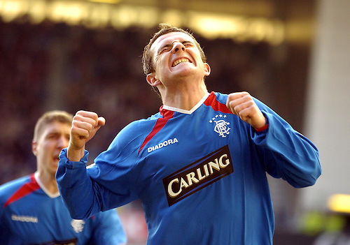 5TH MAR 2005, RANGERS V INVERNESS CALEDONIAN THISTLE AT IBROX STADIUM, GLASGOW, BARRY FERGUSON CELEBRATES SCORING FOR RANGERS, ROB CASEY PHOTOGRAPHY.