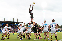 Maro Itoje of Saracens rises high to win lineout ball. Aviva Premiership match, between Saracens and Wasps on October 8, 2017 at Allianz Park in London, England. Photo by: Patrick Khachfe / JMP