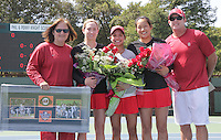 STANFORD, CA - April 9, 2011:  Seniors Carolyn McVeigh, Hilary Barte, and Jennifer Yen, with Head Coach Lele Farood and Coach Frankie Brennan before Stanford's 5-2 victory over Washington at Stanford, California on April 9, 2011.