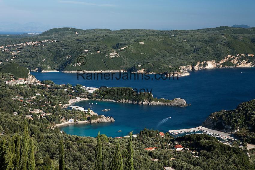 Greece, Corfu, Paleokastritsa: Panorama over resort and coves