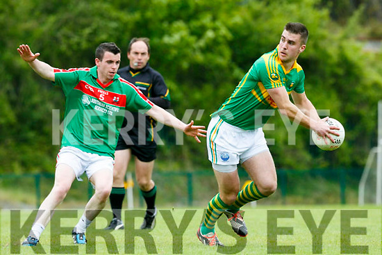 In Action S. Kerry Daniel Daly and  Kilcummin's Mikey O'Shea at the  Garveys Supervalu Senior County Football Championship Round 2B Kilcummin V South Kerry at Dr Crokes Lewis Road Killarney on Sunday