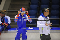 SCHAATSEN: HEERENVEEN: 18-09-2014, IJsstadion Thialf, Topsporttraining, Shane Williamson (JPN), Toshiaki Imamura (trainer Team NewBalance), ©foto Martin de Jong