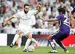 Real Madrid's Daniel Carvajal (l) and Malaga's Miguel Torres during La Liga match. September 26,2015. (ALTERPHOTOS/Acero)