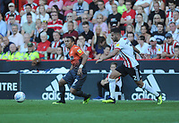 Swansea City's Jefferson Montero battles with Sheffield United's George Baldock during the Sky Bet Championship match between Sheffield United and Swansea City at Bramall Lane, Sheffield, England, UK. Saturday 04 August 2018