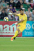 November 4th 2017, nib Stadium, Perth, Australia; A-League football, Perth Glory versus Adelaide United; Paul Izzo from Adelaide United kicks the ball back into play during the second half