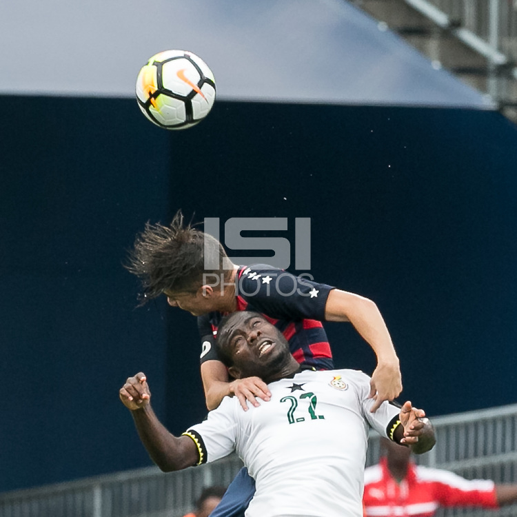 East Hartford, Connecticut - July 1, 2017: International friendly. U.S. Men's National Team (USMNT) (red/blue) defeated Ghana (white), 2-1, at Pratt & Whitney Stadium at Rentschler Field.