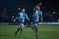 Sido Jombati of Wycombe Wanderers celebrates scoring his side's first goal during the Sky Bet League 2 match between Newport County and Wycombe Wanderers at Rodney Parade, Newport, Wales on 22 November 2016. Photo by Mark  Hawkins.