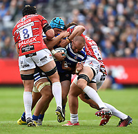 Tom Dunn of Bath Rugby takes on the Gloucester Rugby defence. Gallagher Premiership match, between Bath Rugby and Gloucester Rugby on September 8, 2018 at the Recreation Ground in Bath, England. Photo by: Patrick Khachfe / Onside Images