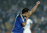 BOGOTA - COLOMBIA -25 -03-2015: David Silva (I) de Millonarios celebra un gol anotado a Deportivo Pasto durante partido aplazado por la fecha 1 de la Liga Águila I 2015 jugado en el estadio Nemesio Camacho El Campín de la ciudad de Bogotá / David Silva (L) of Millonarios celebrates a goal scored to Deportivo Pasto during the postponed match for the first date of the Aguila League I 2015 played at Nemesio Camacho El Campin stadium in Bogotá city. Photo: VizzorImage / Gabriel Aponte / Staff.