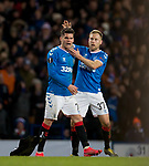 20.02.2020 Rangers v SC Braga: Ianis Hagi celebrates his goal for Rangers witrh Scott Arfield
