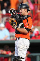 Erie Seawolves catcher Andy Bouchie during a game vs. the Reading Phillies at Jerry Uht Park in Erie, Pennsylvania;  July 19, 2010.   Reading defeated Erie 6-1.  Photo By Mike Janes/Four Seam Images