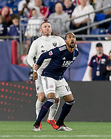 Foxborough, MA - May 25, 2019: In a Major League Soccer (MLS) match, New England Revolution (blue/white) tied D.C. United (white), 1-1, at Gillette Stadium on May 25, 2019 in Foxborough, MA. (Photo by Andrew Katsampes/ISI Photos).<br /> Foxborough, MA - May 25, 2019: In a Major League Soccer (MLS) match, New England Revolution (blue/white) tied D.C. United (white), 1-1, at Gillette Stadium on May 25, 2019 in Foxborough, MA. (Photo by Andrew Katsampes/ISI Photos).<br /> Foul?