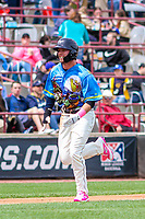 Wisconsin Timber Rattlers outfielder Tristen Lutz (21) races home during a Midwest League game against the Great Lakes Loons on May 12, 2018 at Fox Cities Stadium in Appleton, Wisconsin. Wisconsin defeated Great Lakes 3-1. (Brad Krause/Four Seam Images)