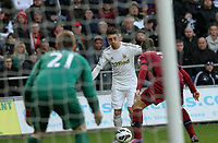 Pictured: Swansea's Pablo Hernandez attacks the Newcastle goal<br />