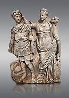 Roman Sebasteion relief  sculpture of Nero being crowned emperor by Agrippina, Aphrodisias Museum, Aphrodisias, Turkey. <br /> <br /> Agrippina crowns her young son Nero with a laurel wreath. She carries a cornucopia, a symbol of Fortune and Plenty, and he wears the armour and cloak of a Roman commander, with a helmet on the ground near his feet. The scene refers to Nero's accession as emperor in AD 54, and belongs before AD 59 when Nero had Agrippina murdered.