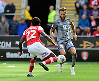 Lincoln City's Jorge Grant vies for possession with Rotherham United's Matthew Olosunde<br /> <br /> Photographer Chris Vaughan/CameraSport<br /> <br /> The EFL Sky Bet Championship - Rotherham United v Lincoln City - Saturday 10th August 2019 - New York Stadium - Rotherham<br /> <br /> World Copyright © 2019 CameraSport. All rights reserved. 43 Linden Ave. Countesthorpe. Leicester. England. LE8 5PG - Tel: +44 (0) 116 277 4147 - admin@camerasport.com - www.camerasport.com
