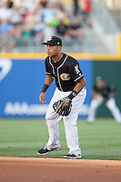 Charlotte Knights second baseman Micah Johnson (3) on defense against the Lehigh Valley IronPigs at BB&T BallPark on May 30, 2015 in Charlotte, North Carolina.  The IronPigs defeated the Knights 1-0.  (Brian Westerholt/Four Seam Images)