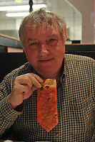 Bill Greeley wearing a Slice of Heaven, Frank Pepe's Pizza, at the Mohegan Sun.