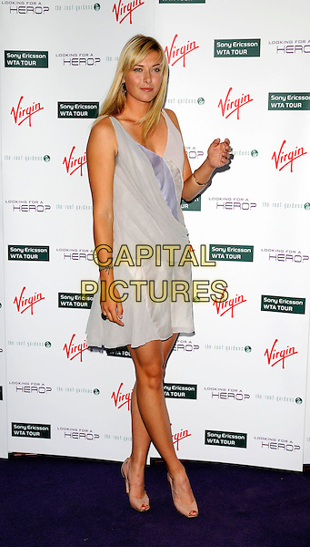 MARIA SHARAPOVA .The Pre-Wimbledon party, Roof Gardens, kensington, London, England..June 19th, 2008.full length grey gray dress sleeveless pink beige shoes heels hand .CAP/CAN.©Can Nguyen/Capital Pictures.