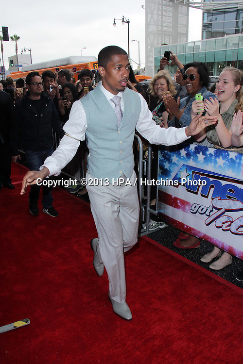 """LOS ANGELES - APR 24:  Nick Cannon arrives at the """"America's Got Talent"""" Los Angeles Auditions at the Pantages Theater on April 24, 2013 in Los Angeles, CA"""