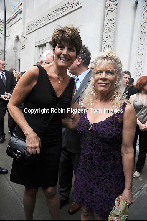 Lucie Arnaz and Ilene Kristen attends Marvin Hamlisch's funeral on August 14, 2012 .at Temple Emanuel in New York City.