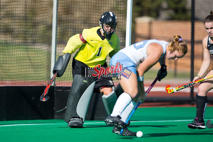 Valerie Dahmen (1) of the Wake Forest Demon Deacons defends her goal during first half action against the North Carolina Tar Heels at Kentner Stadium on October 23, 2015 in Winston-Salem, North Carolina.  The Demon Deacons defeated the Tar Heels 3-2.  (Brian Westerholt/Sports On Film)