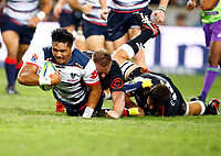 Daniel Du Preez of the Cell C Sharks tackling Rob Leota of the Melbourne Rebels during the Super rugby match between The Cell C Sharks and the Melbourne Rebels at Jonsson Kings Park Stadium in Durban, South Africa 23rd March 2019. Photo: Steve Haag / stevehaagsports.com