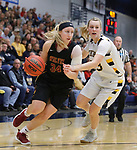 SIOUX FALLS, SD: MARCH 10:  Jessi Marti #34 of Northern State drives on  Paige Peterson #23 of Augustana during the 2018 NCAA Division II Women's Basketball Central Region Tournament at the Elmen Center in Sioux Falls, S.D.  (Photo by Dick Carlson/Inertia)