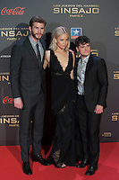 Australian actor Liam Hemsworth (L) and US actors Jennifer Lawrence and Josh Hutcherson (R) pose for the photographers during the photocall of `The Hunger Games: Mockingjay Part 2´ movie presentation in Madrid, Spain. November 10, 2015. (ALTERPHOTOS/Victor Blanco)