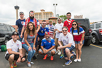 Ray Castillo and friends of American Outlaws at a tailgate party before an international friendly, Wednesday, April 15, 2015 in San Antonio, Tex. (Mo Khursheed/TFV Media via AP Images)