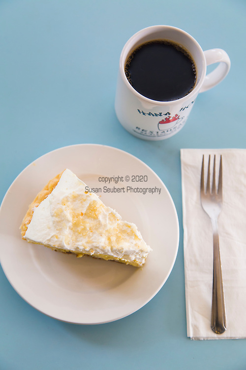 The Hana Hou restaurant, the southern most restaurant in the United States, in Na'alehu on the Big Island of Hawaii, serves up Ka'u coffee with its home made cream pies.  Pictured here is the macadamia nut cream pie