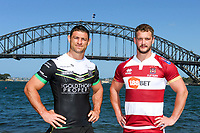 Picture by David Neilson/SWpix.com/PhotosportNZ - 13/02/2018 - Super League NSW Tour - Blues Point Reserve, Sydney, Australia - Rugby League Super League Wigan and Hull in Australia 2018 - Sydney Harbour Bridge, Hull FC  Mark Minichiello and Wigan  Sean O Loughlin
