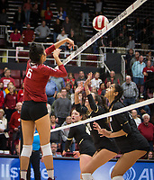Stanford, CA - October 18, 2019: Selina Xu at Maples Pavilion. The No. 2 Stanford Cardinal swept the Colorado Buffaloes 3-0.