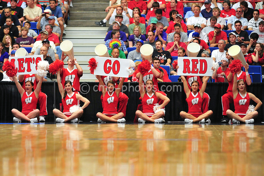 Mar 19, 2011; Tucson, AZ, USA; The Wisconsin Badgers cheerleaders hold up a sign in the second half of a game against the Kansas State Wildcats in the third round of the 2011 NCAA men's basketball tournament at the McKale Center.  The Badgers won 70-65.