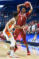 NWA Democrat-Gazette/BEN GOFF @NWABENGOFF<br /> Isaiah Joe, Arkansas guard, looks to pass in the first half vs Florida Thursday, March 14, 2019, during the second round game in the SEC Tournament at Bridgestone Arena in Nashville.
