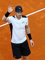 L'inglese Andy Murray esulta dopo aver vinto la finale maschile degli Internazionali d'Italia di tennis a Roma, 15 maggio 2016.<br /> Britain's Andy Murray celebrates after winning the men's final match of the Italian Open tennis against Serbia's Novak Djokovic in Rome, 15 May 2016.<br /> UPDATE IMAGES PRESS/Riccardo De Luca