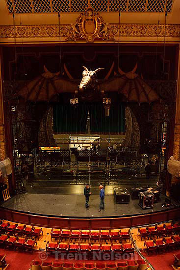 Salt Lake City - Crews set up the stage at the Capitol Theatre for the Broadway sensation Wicked, Tuesday April 7, 2009..